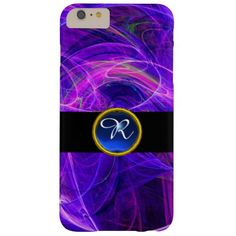 CRAZY PHOTON BLUE SAPPHIRE GEM STONE MONOGRAM BARELY THERE iPhone 6 PLUS CASE