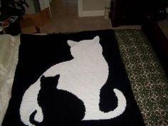 cat silhouette crochet afghan pattern by Ghaze
