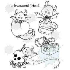 Treasured Friend | Digital version of Dragon Stamps | Tiddly Inks