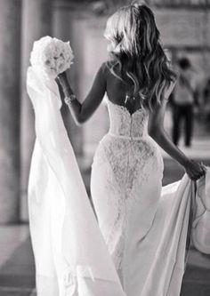 Unusual back lace gown bodice corset fishtail