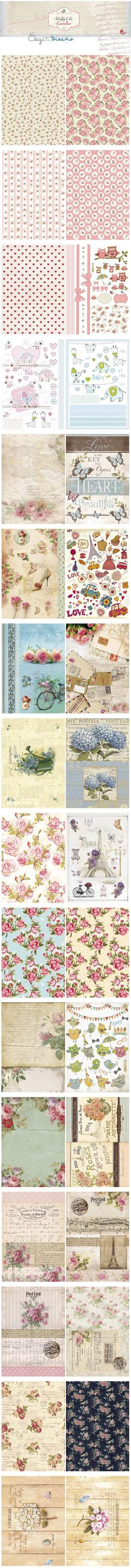 Printables: Floral, butterflies, Paris etc. CLICK on these - they are quite large!