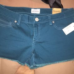 Aeropostale Shorty Shorts Brand new with tags size 5/6 (in their new sizing this would be a size 4 or a 6). Color is a beautiful blue/green dark teal color. I bought these (and all the other colored ones lol) before I got pregnant and unfortunately they don't fit. My loss is your gain! My price is not firm so feel free to make me an offer. Will bundle :) Aeropostale Shorts Jean Shorts