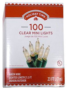 Holiday Time 66574C Traditional IndoorOutdoor Green Wire 100 Clear Mini Lights ** Learn more by visiting the image link.