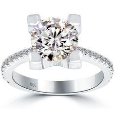 2.60 Carat K-VS2 Certified Natural Round Diamond Engagement Ring 18k White Gold #LioriDiamonds #DiamondEngagementRing