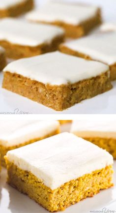Recipes Low Carb Low Carb Healthy Pumpkin Bars with Cream Cheese Frosting - This easy pumpkin bars recipe with canned pumpkin & cream cheese frosting is gluten-free & low carb, with healthy, natural ingredients. Just 10 min prep! Keto Friendly Desserts, Low Carb Desserts, Healthy Dessert Recipes, Healthy Sweets, Easy Desserts, Keto Recipes, Holiday Desserts, Healthy Yellow Cake Recipe, Carb Free Deserts