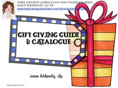 This is a small sampling of the resources in my TPT store; highlighting the types of resources I sell for AAC, speech-language therapy, and literacy skills development. I have book companions, language games, augmentative communication resources, handouts and videos.Let this be a guide to help you buy gifts for that SLP on your list, or for yourself.