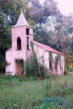Never seen a pink church. Maybe someone bought the old church and tried to restore it. Sad
