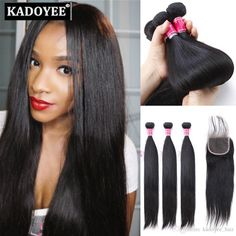 Brazilian Hair 4x4 Lace Frontal Closure With 3 Bundles Silky Straight Unprocessed Virgin Human