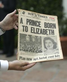 Newspaper announcing the birth of Prince Charles