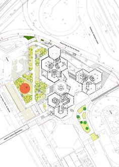 Комплекс CityLights © Dominique Perrault Architecture /Adagp - Pin This Cultural Architecture, Education Architecture, Landscape Architecture Design, Landscape Plans, Architecture Portfolio, Concept Architecture, School Architecture, Drawing Architecture, Architecture Panel