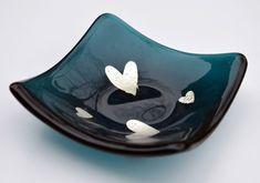 Teal Heart Glass Trinket Dish - Birthday, Mum, Gift, earring, valentines, love, wedding, engagement, anniversary, silver