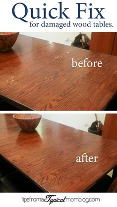 Quick Fix for damaged dining room wood tables before and after