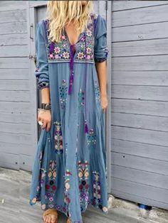 Casual Cotton-Blend Dress Women Plus Size Fashion Long Sleeve Summer Dress