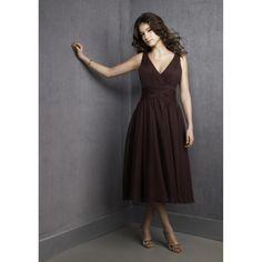 A-Line V-Neck Ruched Chiffon Tea-Length Brown Bridesmaid Dress