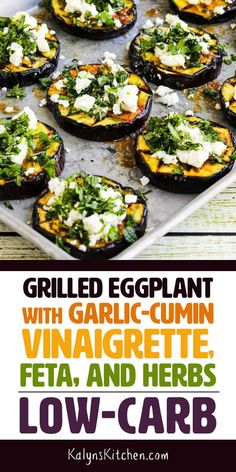 Even if you think you aren't an eggplant fan, PLEASE try this low-carb Grilled Eggplant with Garlic-Cumin Vinaigrette, Feta, and Herbs! Grilled Eggplant is so much better than cooking it any other way and this is absolutely delicious! Garlic Recipes, Vegetable Recipes, Vegetarian Recipes, Healthy Recipes, Keto Recipes, Vegetarian Times, Weightwatchers Recipes, Vegetarian Grilling, Vegetarian Lunch