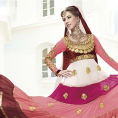 Off White, Maroon and Peach Faux Georgette Anarkali Churidar Kameez