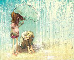 even though it's anime-ish D; Umbrella Art, Under My Umbrella, Henri Matisse, Its Raining Its Pouring, Rain Art, Singing In The Rain, True Art, Ink Illustrations, Illustration Art