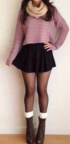 I love this! #black skirt #jumper #oversized #pink