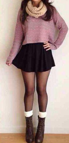 trui, sjaal, rok, panty, sokken, botjes