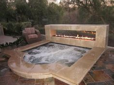 A Jacuzzi is a real relaxation oasis, the best place ever to have a rest after a long day. But if your Jacuzzi is outdoors, it's even more amazing . Hot Tub Deck, Hot Tub Backyard, Large Backyard, Backyard Playground, Jacuzzi Outdoor Hot Tubs, Desert Backyard, Small Backyard Pools, Backyard Retreat, Inground Hot Tub