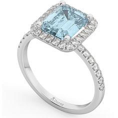 Allurez Aquamarine & Diamond Engagement Ring 18k White Gold (3.32ct) (14.345 DKK) ❤ liked on Polyvore featuring jewelry, rings, 18k white gold ring, white gold diamond rings, diamond cocktail rings, aquamarine rings and white gold band ring
