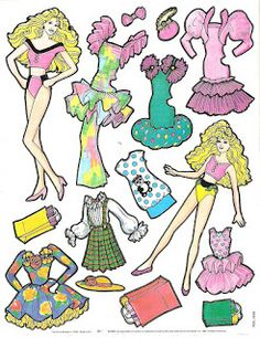 Paper Doll Template | Barbie fashion color forms from the late 80s early 90s with her sister ...