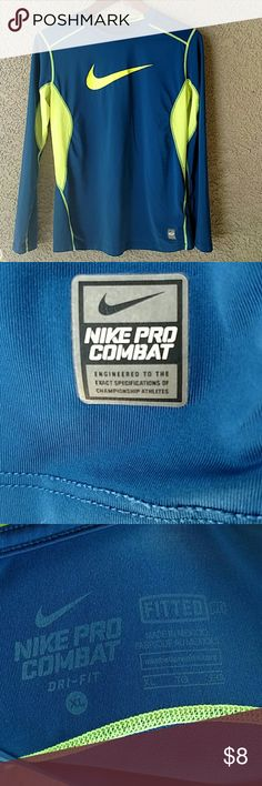 Nike Dri-Fit Pro Combat Athletic Shirt A bright blue and neon yellow Nike pro combat dri-fit shirt! In Great Condition! Nike Shirts