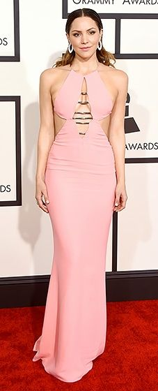 For her first Grammys, McPhee chose a coral Emilio Pucci column dress and Giuseppe Zanotti heels.