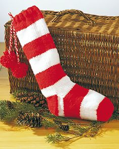 Christmas Striped Stocking to Knit at Yarn Supply