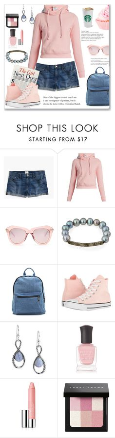 """Coffee and a Cupcake"" by ahapplet ❤ liked on Polyvore featuring J.Crew, Vetements, Karen Walker, Bavna, Converse, Carolyn Pollack/Relios, Deborah Lippmann, Clinique, Bobbi Brown Cosmetics and Pink"