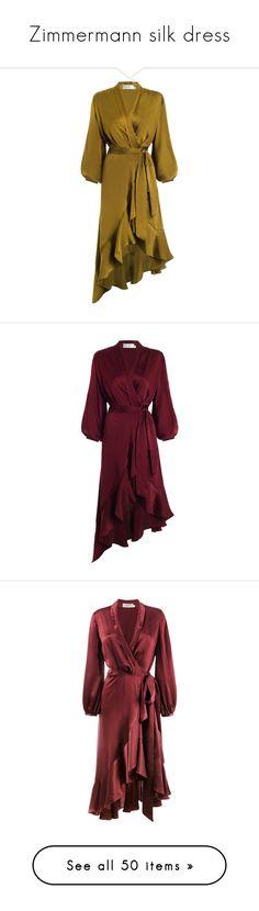"""Zimmermann silk dress"" by lorika-borika on Polyvore featuring dresses, brown wrap dress, flounce dress, zimmermann dress, flutter sleeve dress, asymmetric wrap dress, frilly dresses, purple dresses, sleeved dresses и frill dress"