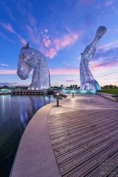 The Kelpies at Helix Park in Falkirk, stunning sky and our BBS granite in the foreground #naturalstone #hardlandscaping #granite