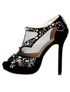 Romantic Black Transparent  High Heel Platform Peep Toe Suede Fashion Shoes #Sexy #Romantic #High_Heels