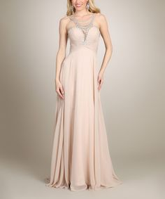 Look what I found on #zulily! Nude Necklace Gown by My Fashion #zulilyfinds