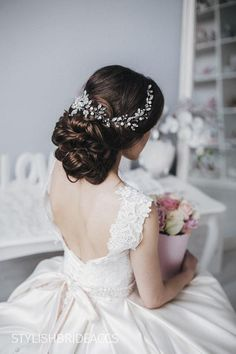 Crystal Long Wedding Hair Vine, Bridal Shiny Bohemian Hair Vine, Long Crystal Hair Accessories - All For Bride Hair Style Wedding Hairstyles For Long Hair, Wedding Hair And Makeup, Bride Hairstyles, Wedding Hair Accessories, Hairstyle Ideas, Bridal Braids, Bridal Hair Vine, Crystal Hair, Crystal Wedding