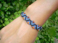 Bracelet macramé zig zag ethnique bleu et orange