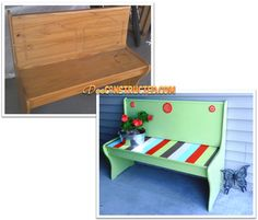Whimsical Painted Bench @ deeconstructed.com
