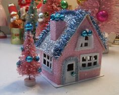 pink and blue glitter house