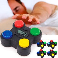 As soon as the alarm goes off, you have to follow the sequence of lights on its blue, red, green and yellow buttons in the right order to shut it up. If you don't get the correct sequence by pressing the correct buttons, the alarm will continue to sound.