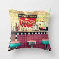 "18x18 or 22x22 cotton pillow ""Retro diner"", decorator pillow, vintage home decor, soda fountain"