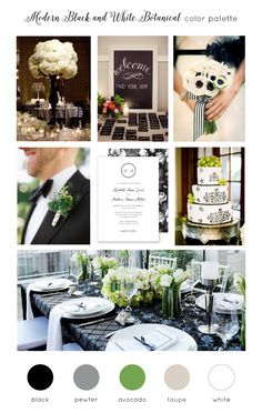 Use this gorgeous modern black and white color inspiration as your guide to creating a classic wedding invitation set.