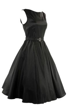 Plus size 60's Vintage design Rockabilly black Satin flare swing dress