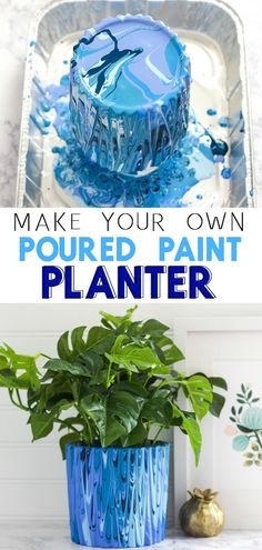 Poured Paint Planter - How to make a DIY marbles planter