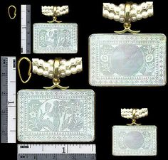 14k Slider Bale Squ. Pendant Scene LADY Antique Chinese Mother Pearl Gaming Chip