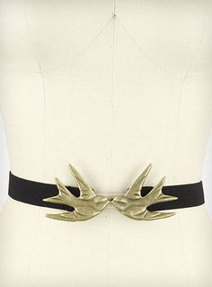 Black Kissing Sparrows Belt | PLASTICLAND