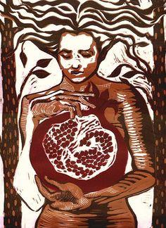 Persephone, Linoleum Block Print, 2007, by Miriam Sanders