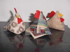 Cute chicken pincushion that can be quilted or plain.