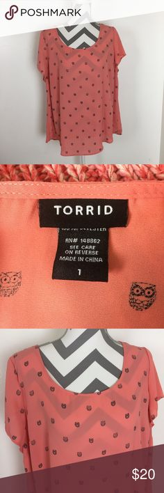 TORRID Owl Print Top Ready for spring? This top is in excellent condition! 100% polyester. 24 inches across the bust. 27 inches long. Torrid size 1. Non-smoking pet free home. No marks!                                                                                         🔹suggested user🔹fast shipper🔹                                        🔸bundle to save 15%🔸 300+ items🔸 torrid Tops Blouses
