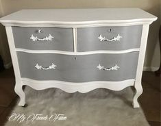 Beautiful antique dresser painted with Annie Sloan chalk paint in Pure White and Paris Grey. Chalk Paint Colors Furniture, Chalk Paint Dresser, Annie Sloan Painted Furniture, Distressed Furniture Painting, Colorful Furniture, White Furniture, Bedroom Furniture, Kitchen Furniture, Diy Furniture