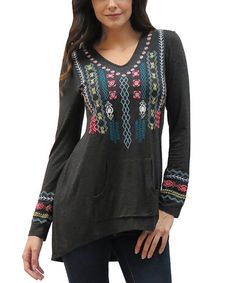Look at this Caite Heather Gray Embroidered Rai Tunic - Women on #zulily today!